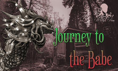 "A dragon in front of a small wooden house with the words ""Journey to the Babe"" over the top"
