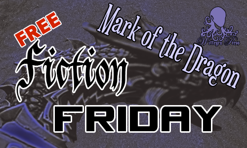 A dragon's head in purples with Mark of the Dragon written over the top along with Free Fiction Friday.
